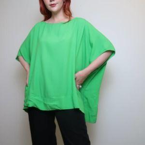 Diane von Furstenberg green flowy tunic top M/L